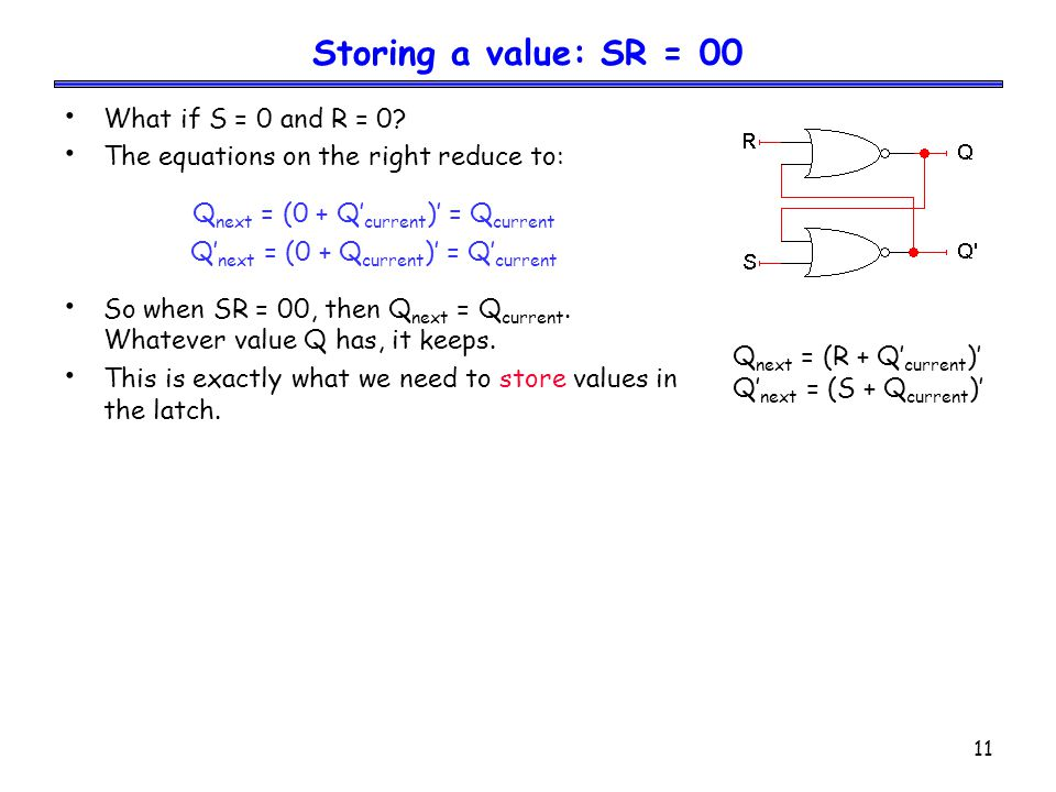 12 Setting the latch: SR = 10 What if S = 1 and R = 0.