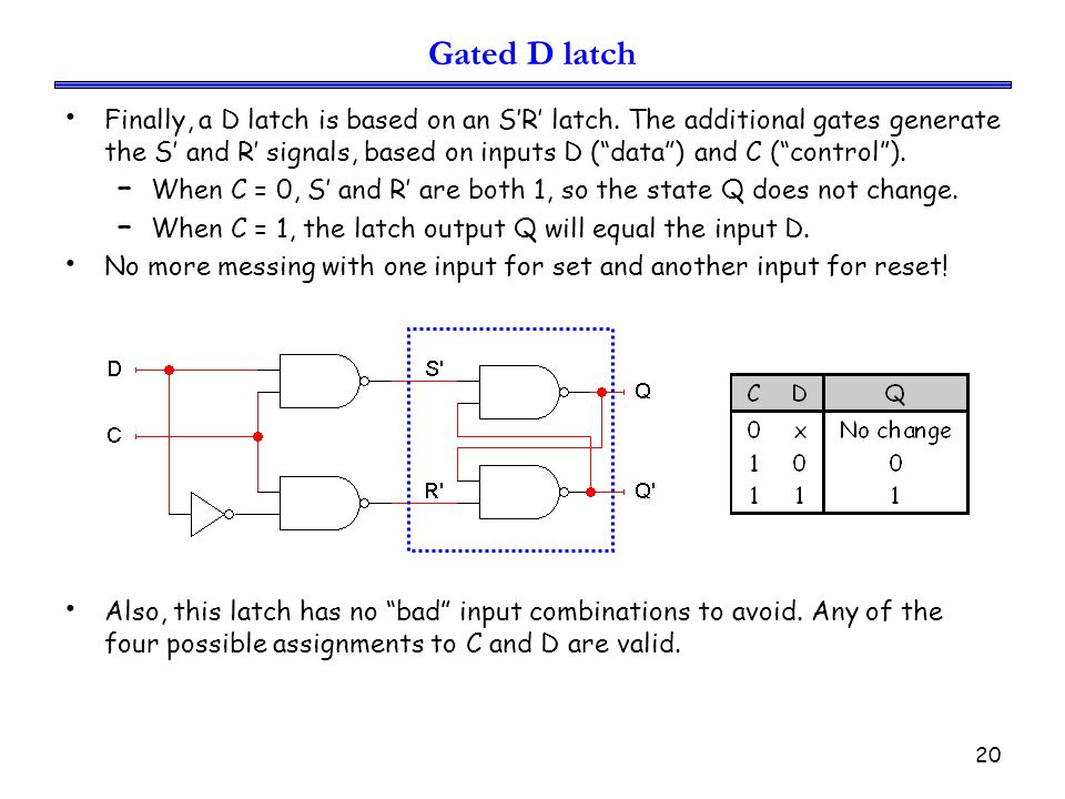 21 Problems with latches The circuit shows a 3-bit shift register using 3 D- latches.