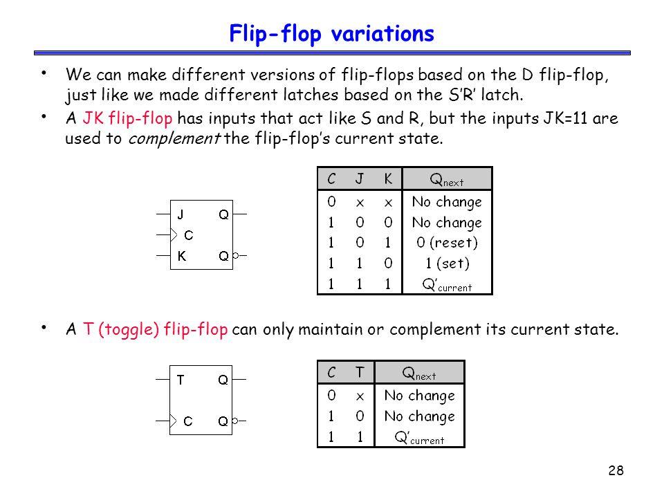 28 Flip-flop variations We can make different versions of flip-flops based on the D flip-flop, just like we made different latches based on the S'R' l