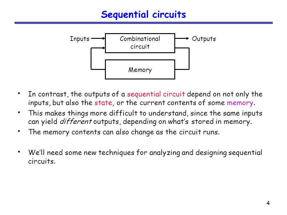 5 Examples of sequential devices Many real-life devices are sequential in nature: – Combination locks open if you enter numbers in the right order.