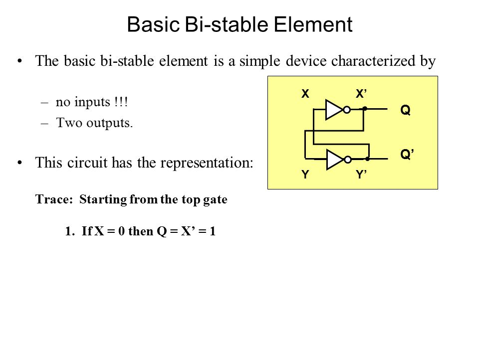 Basic Bi-stable Element The basic bi-stable element is a simple device characterized by –no inputs !!.