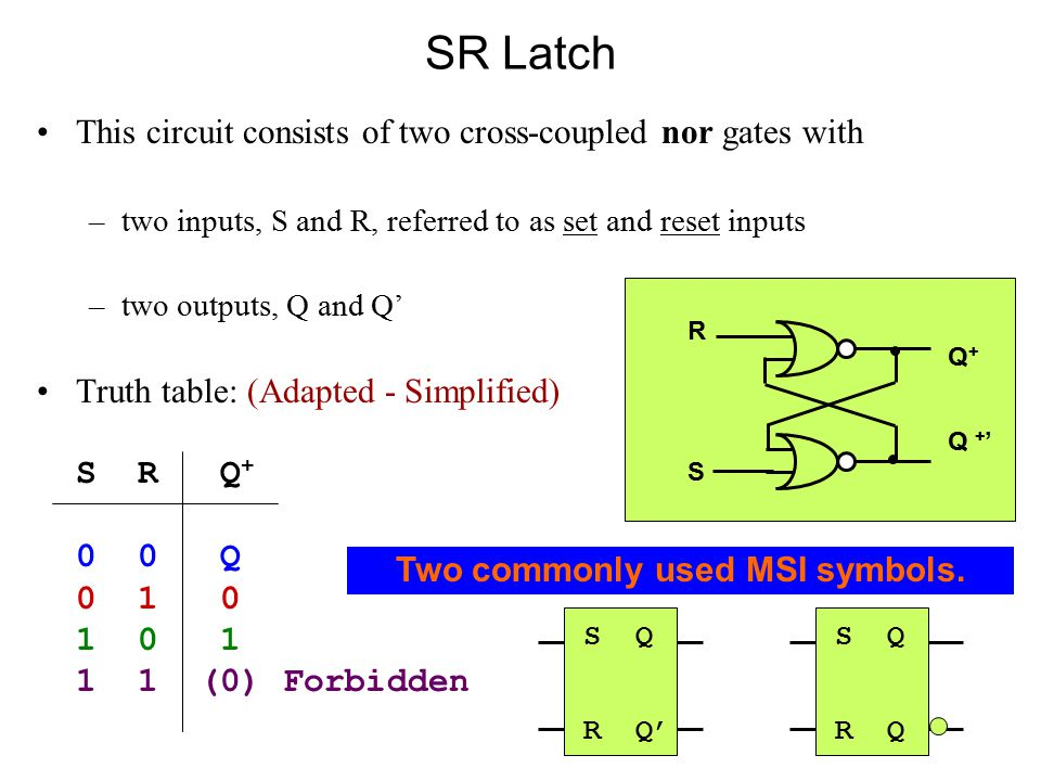 SR Latch This circuit consists of two cross-coupled nor gates with –two inputs, S and R, referred to as set and reset inputs –two outputs, Q and Q' Truth table: (Adapted - Simplified) S R Q + 0 0 Q 0 1 0 1 0 1 1 1 (0) Forbidden RSRS Q + Q + ' S Q R Q' S Q R Q Two commonly used MSI symbols.