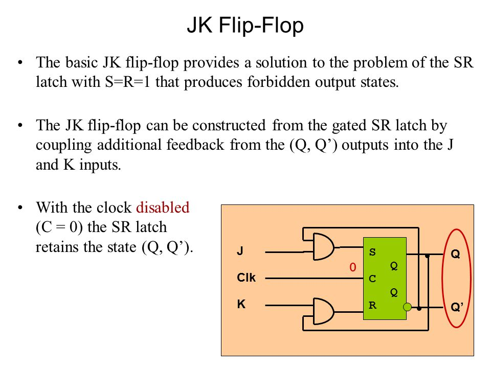 JK Flip-Flop The basic JK flip-flop provides a solution to the problem of the SR latch with S=R=1 that produces forbidden output states.