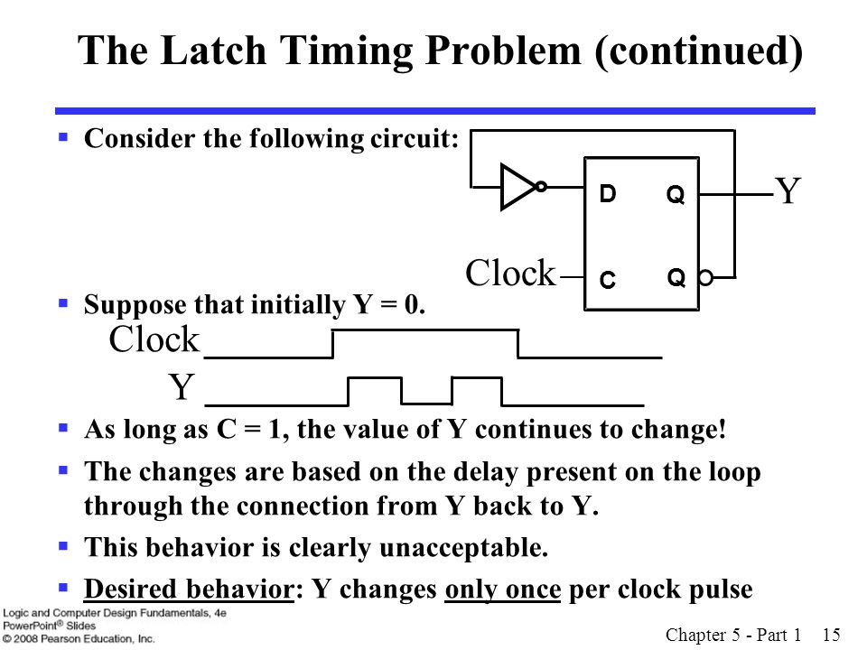 Chapter 5 - Part 1 15 The Latch Timing Problem (continued)  Consider the following circuit:  Suppose that initially Y = 0.