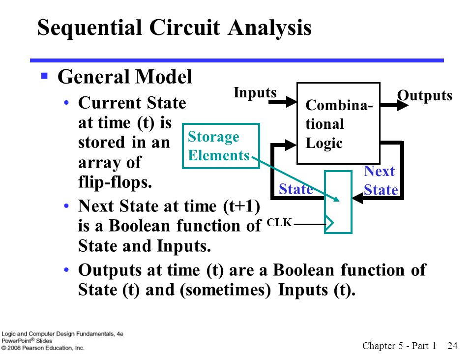 Chapter 5 - Part 1 24 Sequential Circuit Analysis  General Model Current State at time (t) is stored in an array of flip-flops.