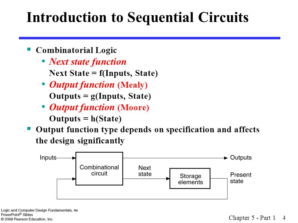 Chapter 5 - Part 1 4  Combinatorial Logic Next state function Next State = f(Inputs, State) Output function (Mealy) Outputs = g(Inputs, State) Output function (Moore) Outputs = h(State)  Output function type depends on specification and affects the design significantly Introduction to Sequential Circuits
