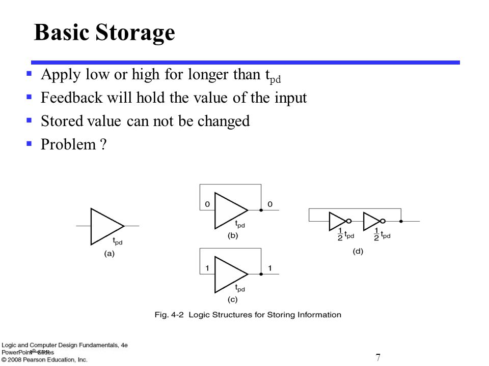 7 Spring 2008 Basic Storage  Apply low or high for longer than t pd  Feedback will hold the value of the input  Stored value can not be changed  Problem .