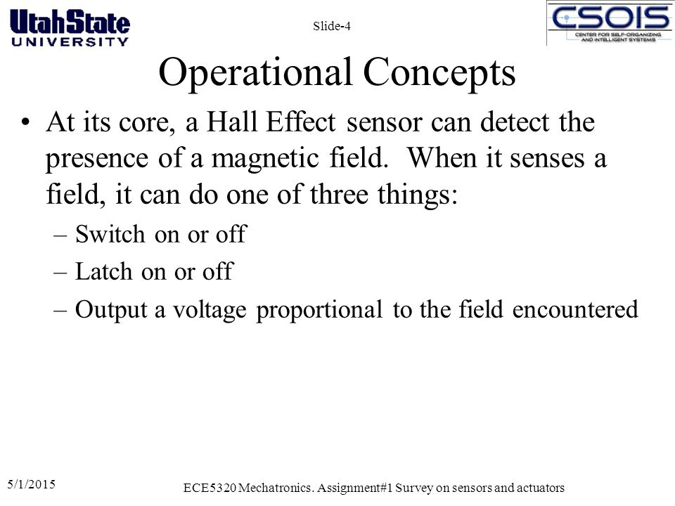 Sample Application Hall Effect Sensors are used extensively in Brushless DC Motors 5/1/2015 ECE5320 Mechatronics.