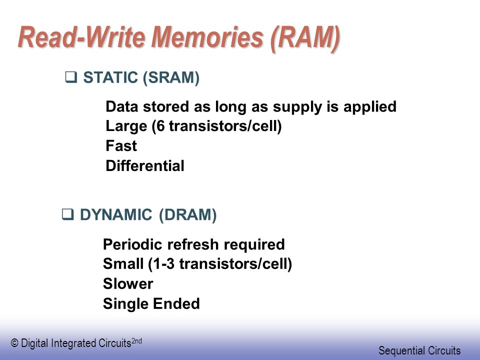 © Digital Integrated Circuits 2nd Sequential Circuits Read-Write Memories (RAM)  STATIC (SRAM)  DYNAMIC (DRAM) Data stored as long as supply is applied Large (6 transistors/cell) Fast Differential Periodic refresh required Small (1-3 transistors/cell) Slower Single Ended