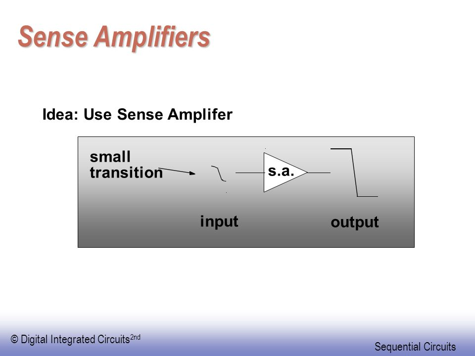 © Digital Integrated Circuits 2nd Sequential Circuits Sense Amplifiers Idea: Use Sense Amplifer output input s.a.