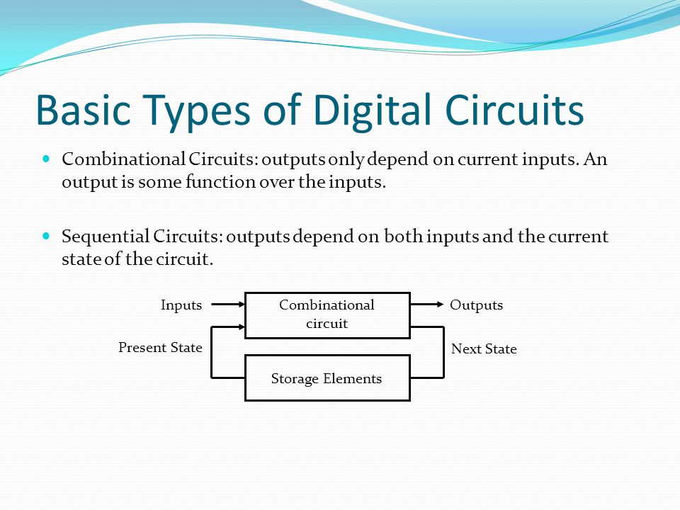 Two Types of Sequential Circuits Asynchronous sequential circuits: the behaviour of such a circuit depends on the inputs at any instant of time and the order in continuous time in which the inputs change.