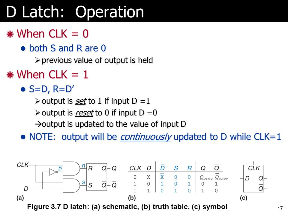 17 D Latch: Operation  When CLK = 0 both S and R are 0 both S and R are 0  previous value of output is held  When CLK = 1 S=D, R=D' S=D, R=D'  output is set to 1 if input D =1  output is reset to 0 if input D =0  output is updated to the value of input D NOTE: output will be continuously updated to D while CLK=1 NOTE: output will be continuously updated to D while CLK=1 Figure 3.7 D latch: (a) schematic, (b) truth table, (c) symbol
