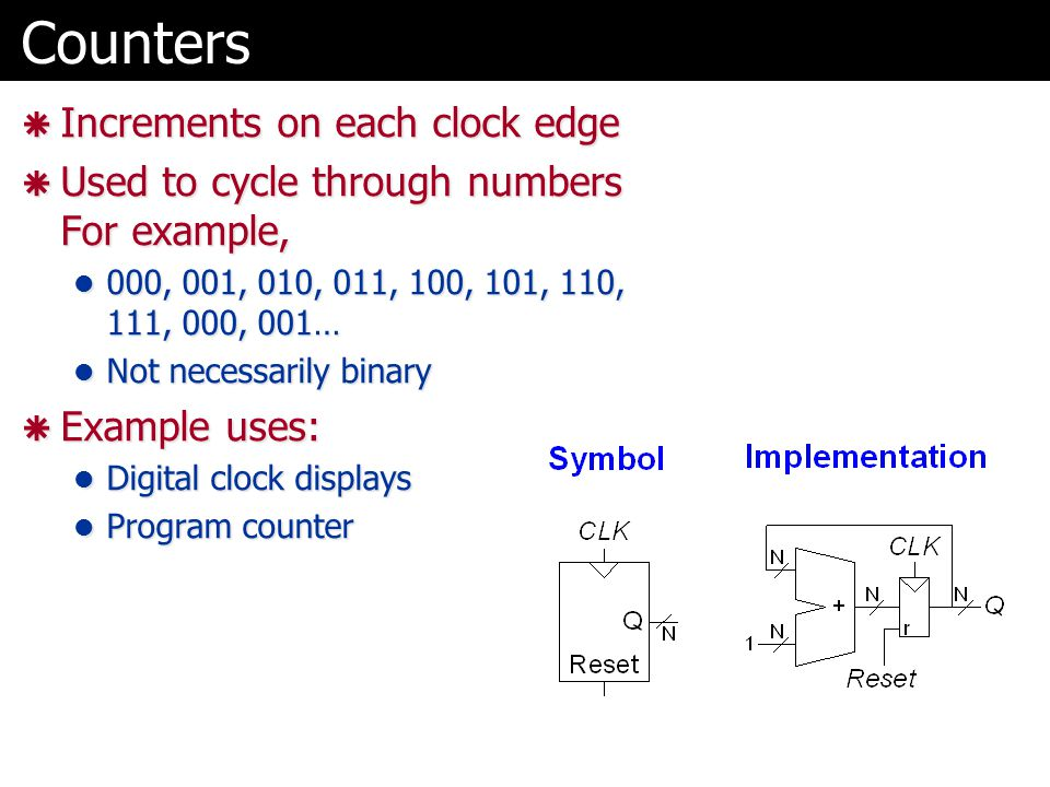 Counters  Increments on each clock edge  Used to cycle through numbers For example, 000, 001, 010, 011, 100, 101, 110, 111, 000, 001… 000, 001, 010, 011, 100, 101, 110, 111, 000, 001… Not necessarily binary Not necessarily binary  Example uses: Digital clock displays Digital clock displays Program counter Program counter