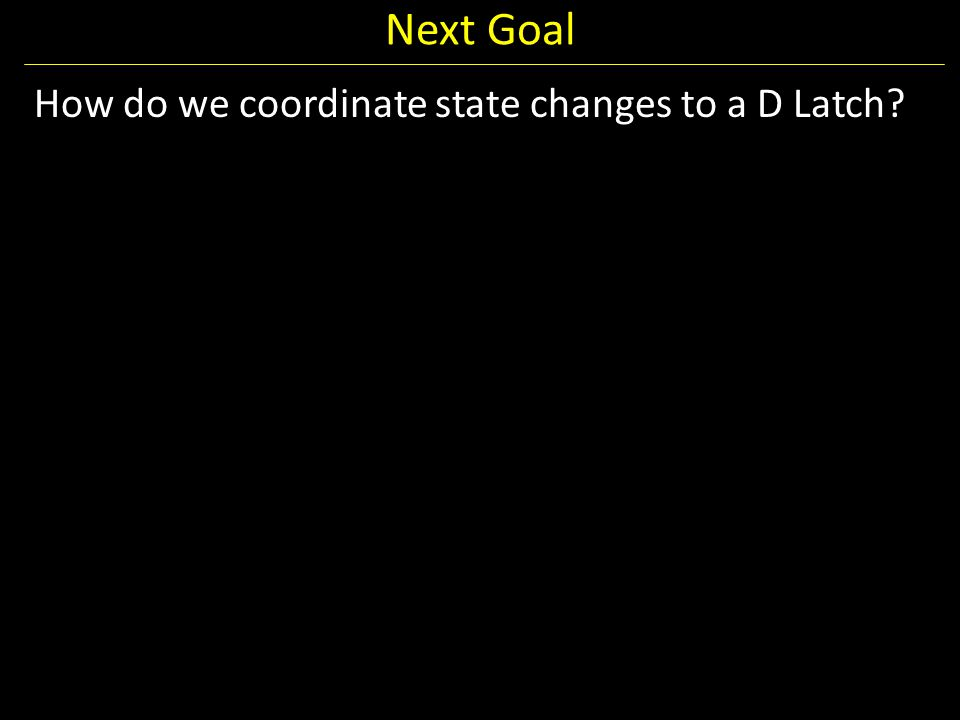 Next Goal How do we coordinate state changes to a D Latch?