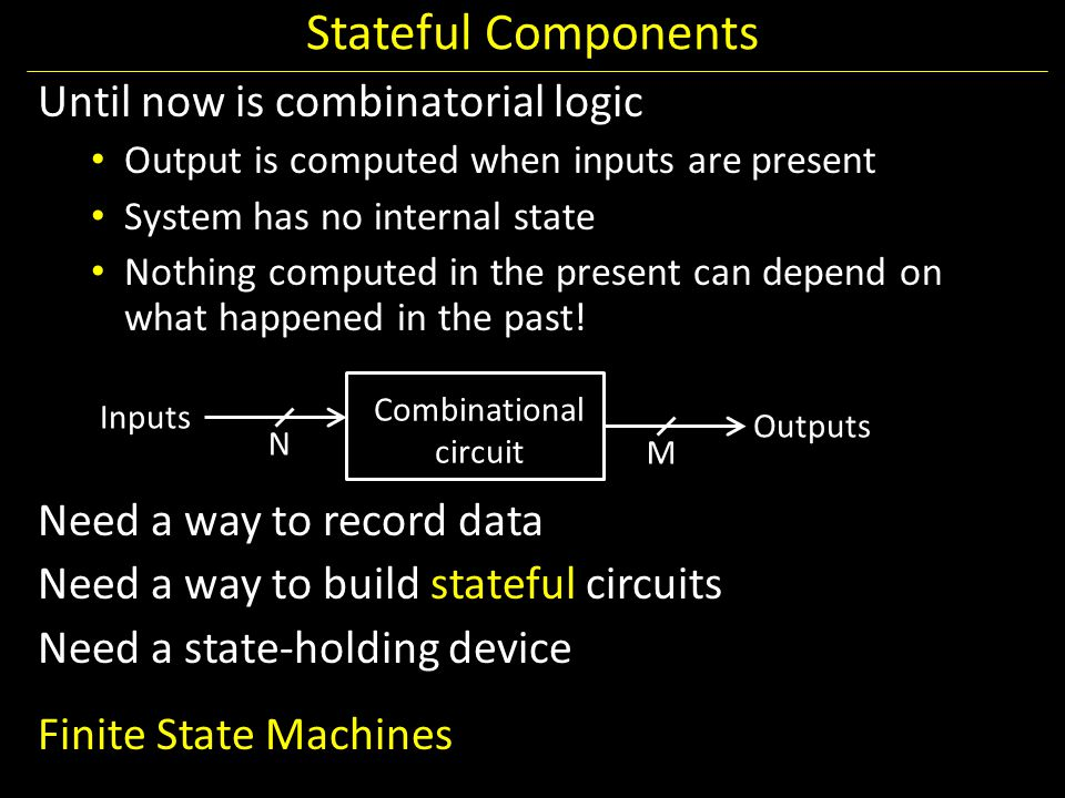 Stateful Components Until now is combinatorial logic Output is computed when inputs are present System has no internal state Nothing computed in the p