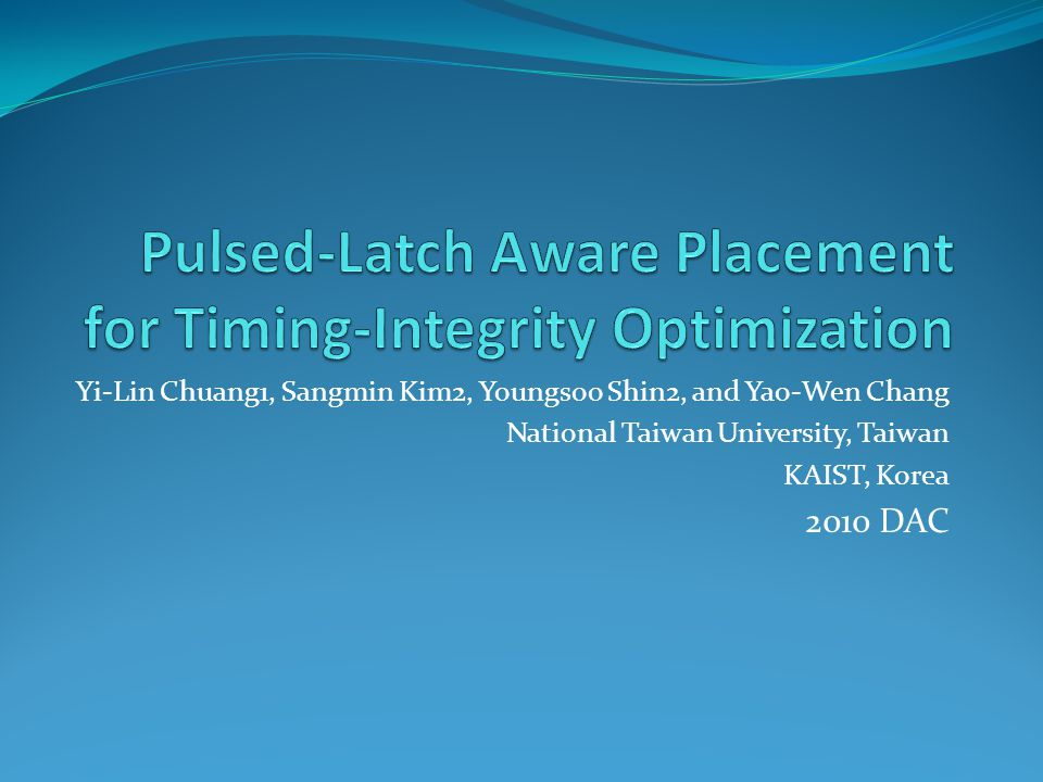 Pulsed-latch-width scheduled netlist[10] Timing constraints of Pulsed Latch-Based Circuits