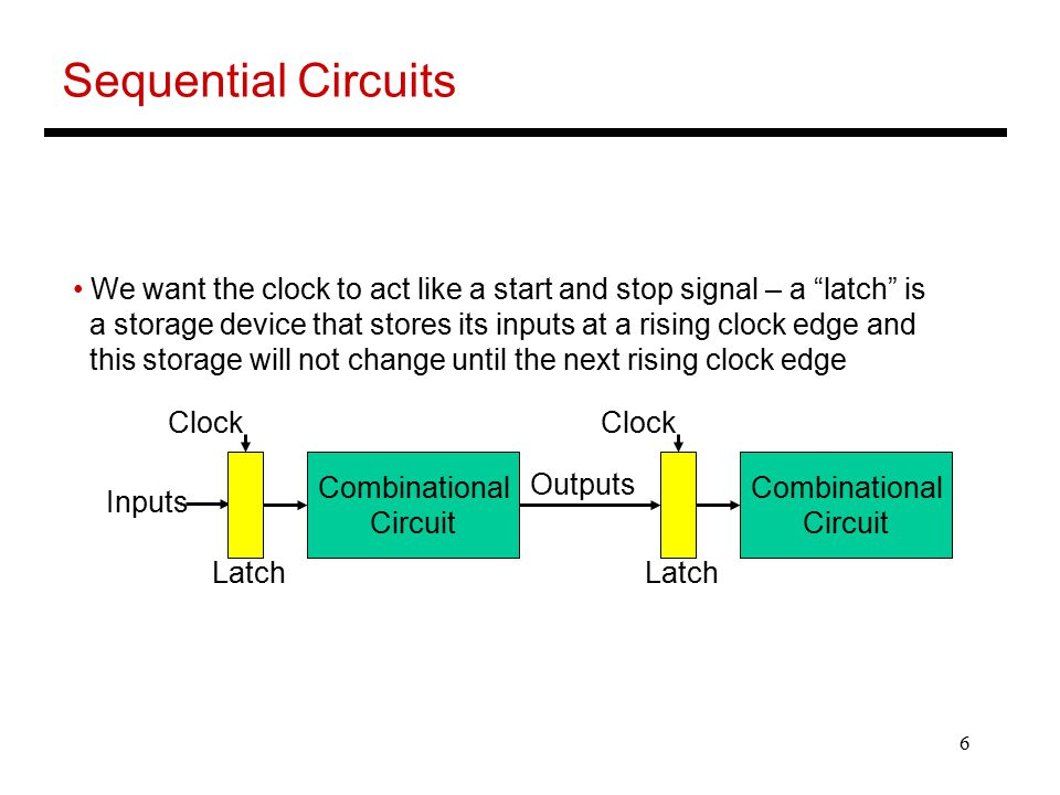 "6 Sequential Circuits We want the clock to act like a start and stop signal – a ""latch"" is a storage device that stores its inputs at a rising clock e"