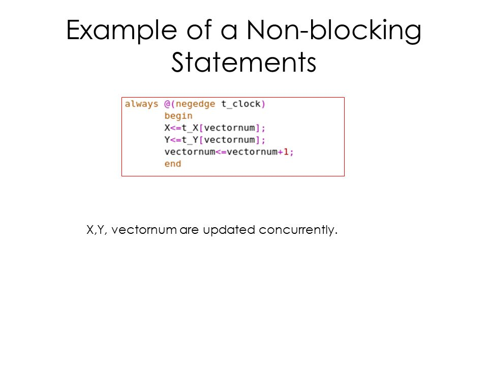 Example of a Non-blocking Statements X,Y, vectornum are updated concurrently.