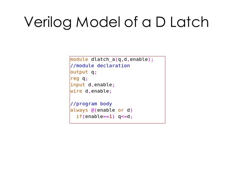 Verilog Model of a D Latch