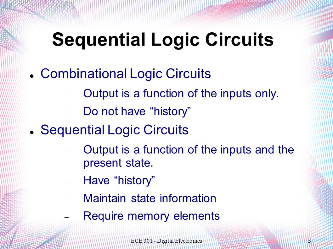 ECE 301 - Digital Electronics3 Sequential Logic Circuits Combinational Logic Circuits  Output is a function of the inputs only.