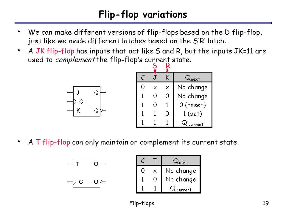 Flip-flops19 Flip-flop variations We can make different versions of flip-flops based on the D flip-flop, just like we made different latches based on