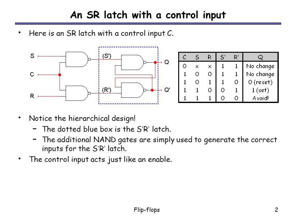 Flip-flops3 D latch Finally, a D latch is based on an S'R' latch.