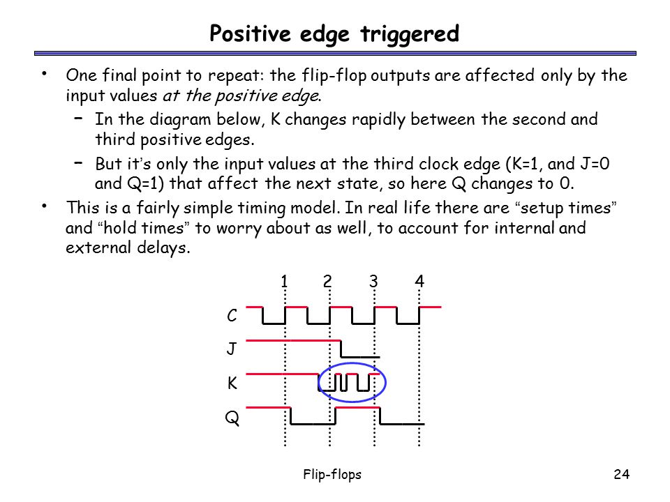 Flip-flops24 Positive edge triggered One final point to repeat: the flip-flop outputs are affected only by the input values at the positive edge. – In