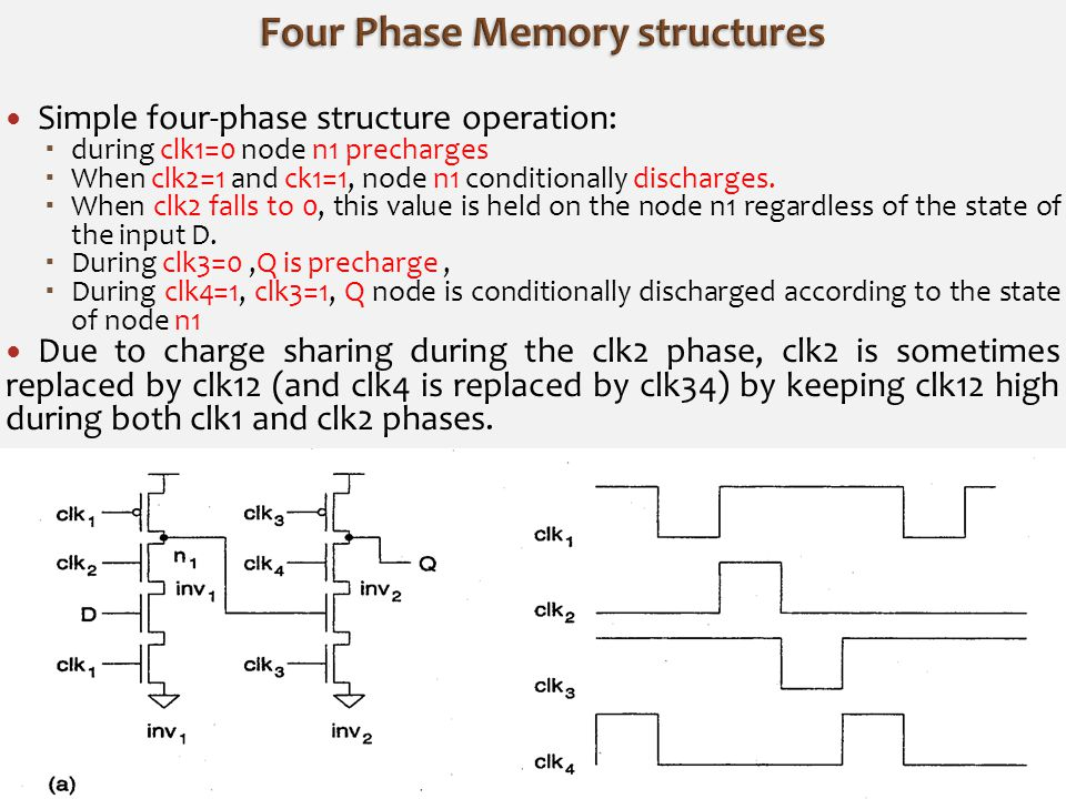 Simple four-phase structure operation:  during clk1=0 node n1 precharges  When clk2=1 and ck1=1, node n1 conditionally discharges.