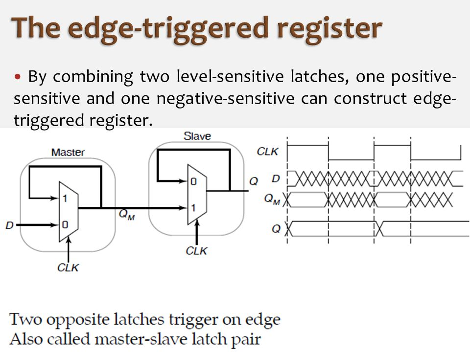 By combining two level-sensitive latches, one positive- sensitive and one negative-sensitive can construct edge- triggered register.