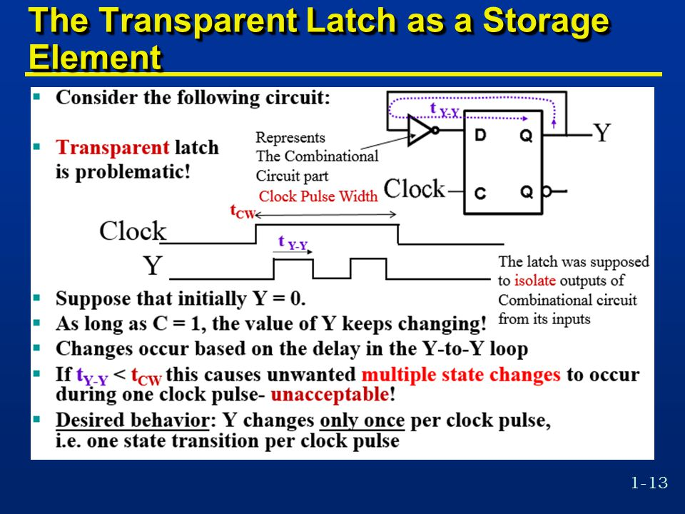 1-13 The Transparent Latch as a Storage Element