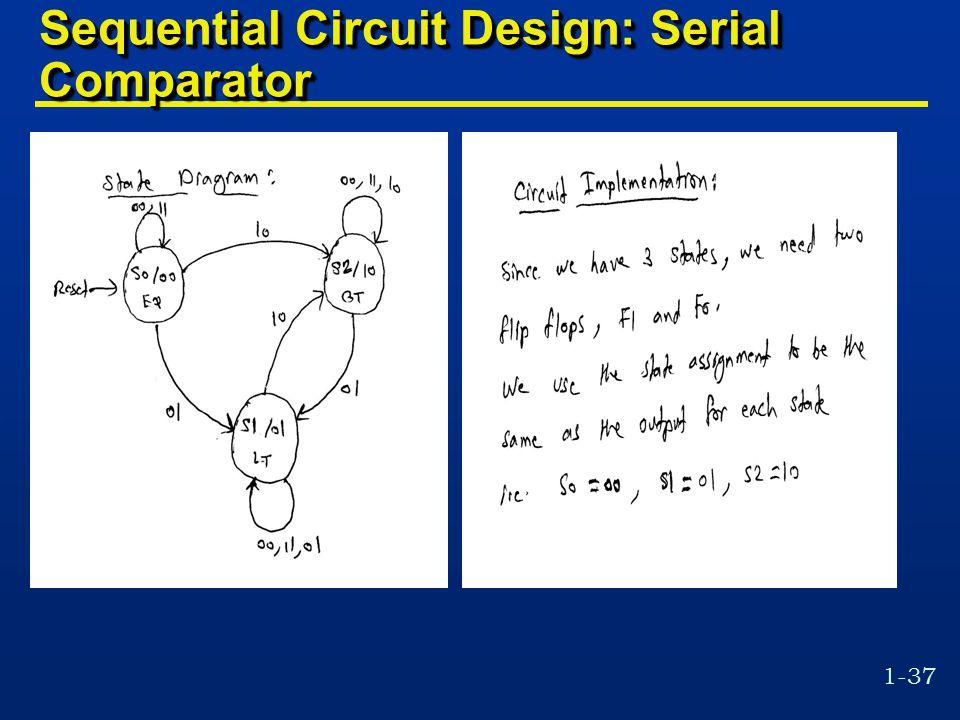 1-37 Sequential Circuit Design: Serial Comparator