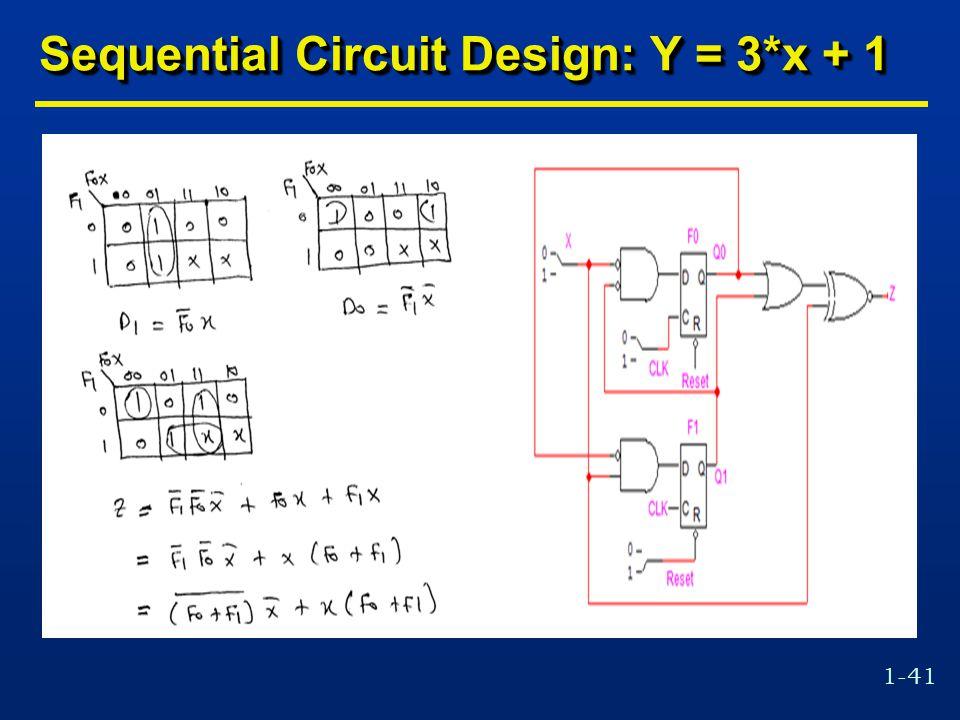 1-41 Sequential Circuit Design: Y = 3*x + 1