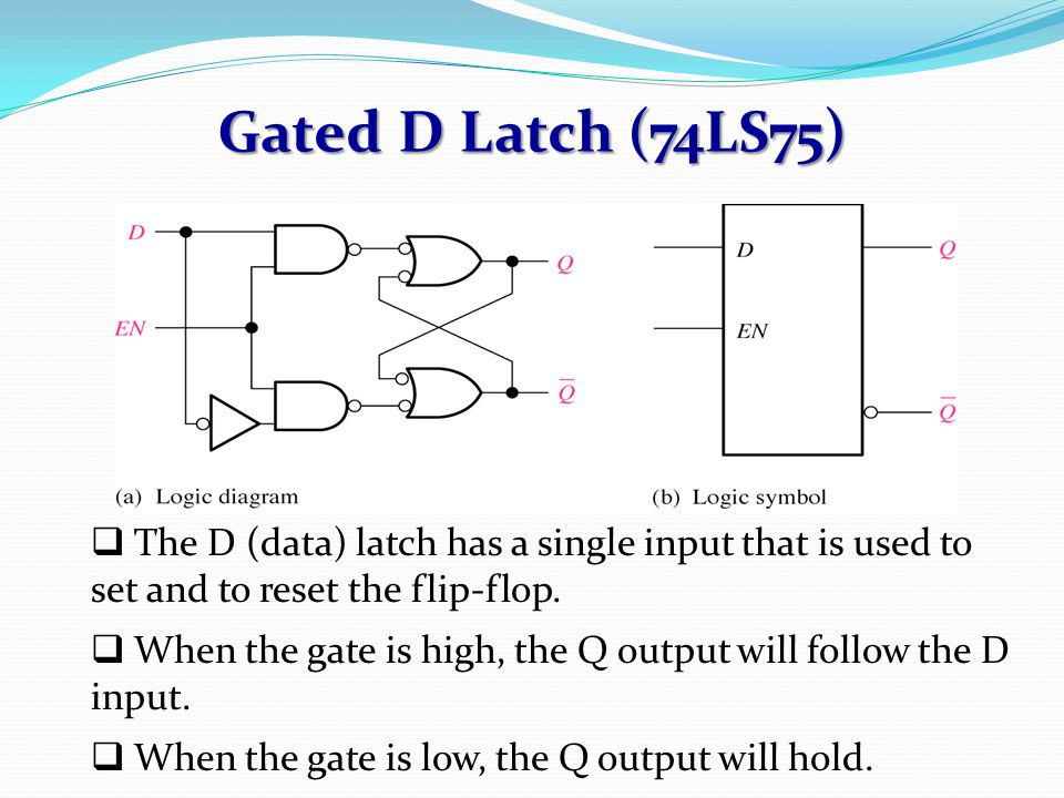 Gated D Latch (74LS75)  The D (data) latch has a single input that is used to set and to reset the flip-flop.  When the gate is high, the Q output w