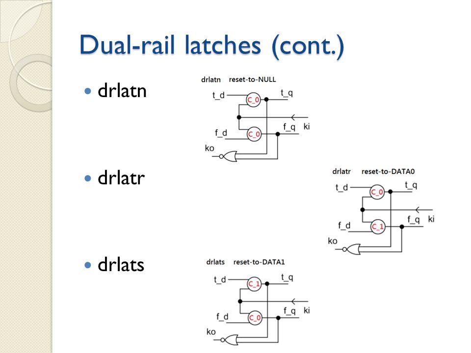 Dual-rail latches (cont.) drlatn drlatr drlats