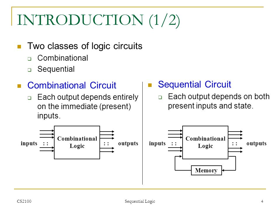 CS2100 Sequential Logic 45 FLIP-FLOP EXCITATION TABLES (2/2) Excitation tables: given the required transition from present state to next state, determine the flip-flop input(s).