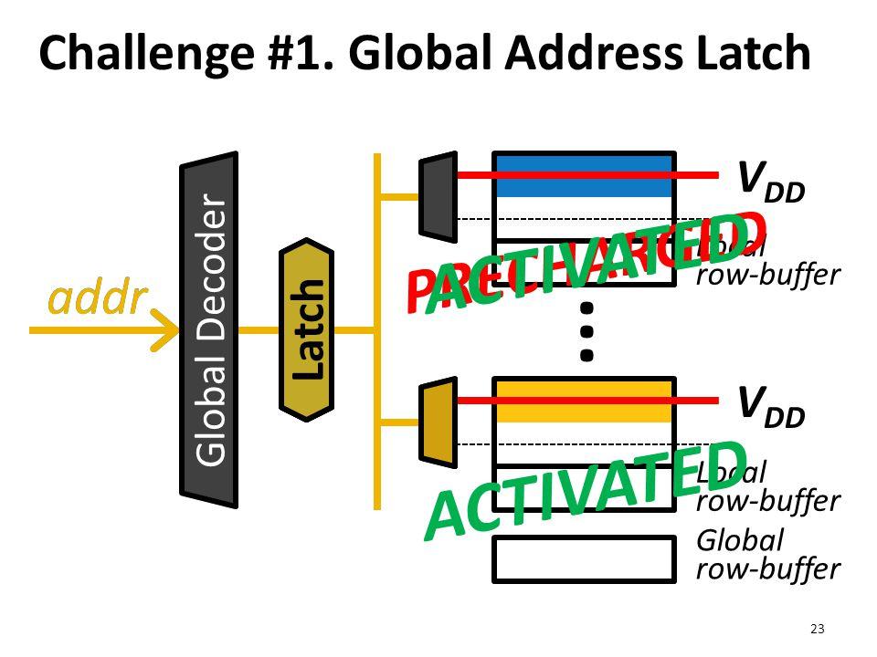 Local row-buffer Global row-buffer Challenge #1. Global Address Latch 23 ··· addr V DD addr Global Decoder V DD Latch PRECHARGED ACTIVATED