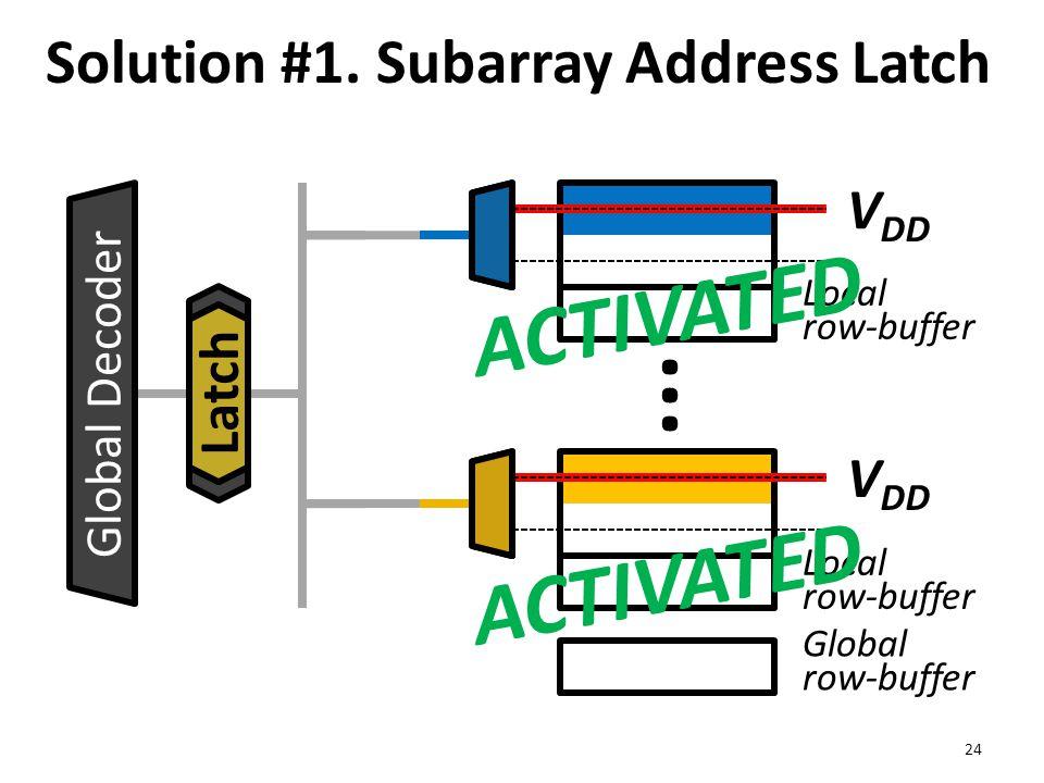Local row-buffer Global row-buffer Solution #1. Subarray Address Latch 24 ··· V DD Global Decoder V DD Latch ACTIVATED