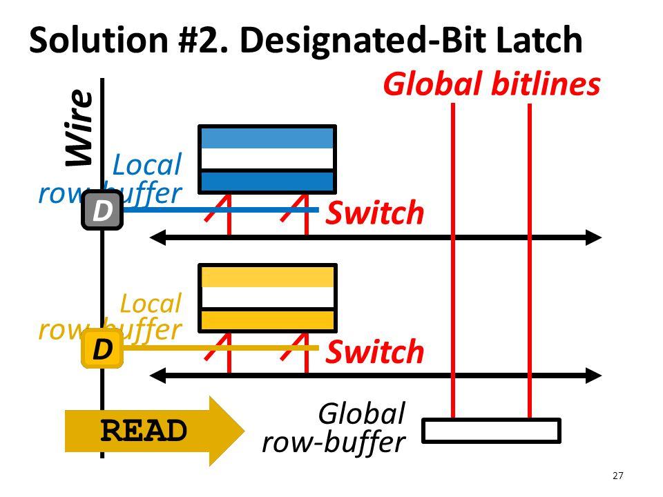 Wire Solution #2. Designated-Bit Latch 27 Global bitlines Global row-buffer Local row-buffer Switch READ DD DD