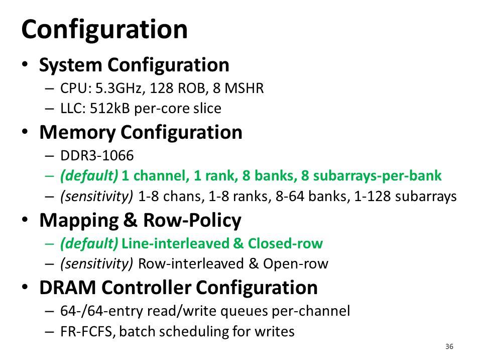 Configuration System Configuration – CPU: 5.3GHz, 128 ROB, 8 MSHR – LLC: 512kB per-core slice Memory Configuration – DDR3-1066 – (default) 1 channel,