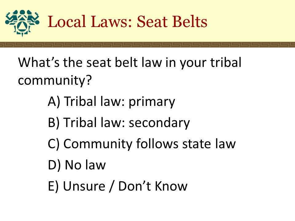What's the seat belt law in your tribal community? A) Tribal law: primary B) Tribal law: secondary C) Community follows state law D) No law E) Unsure