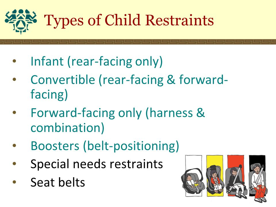 Types of Child Restraints Infant (rear-facing only) Convertible (rear-facing & forward- facing) Forward-facing only (harness & combination) Boosters (belt-positioning) Special needs restraints Seat belts
