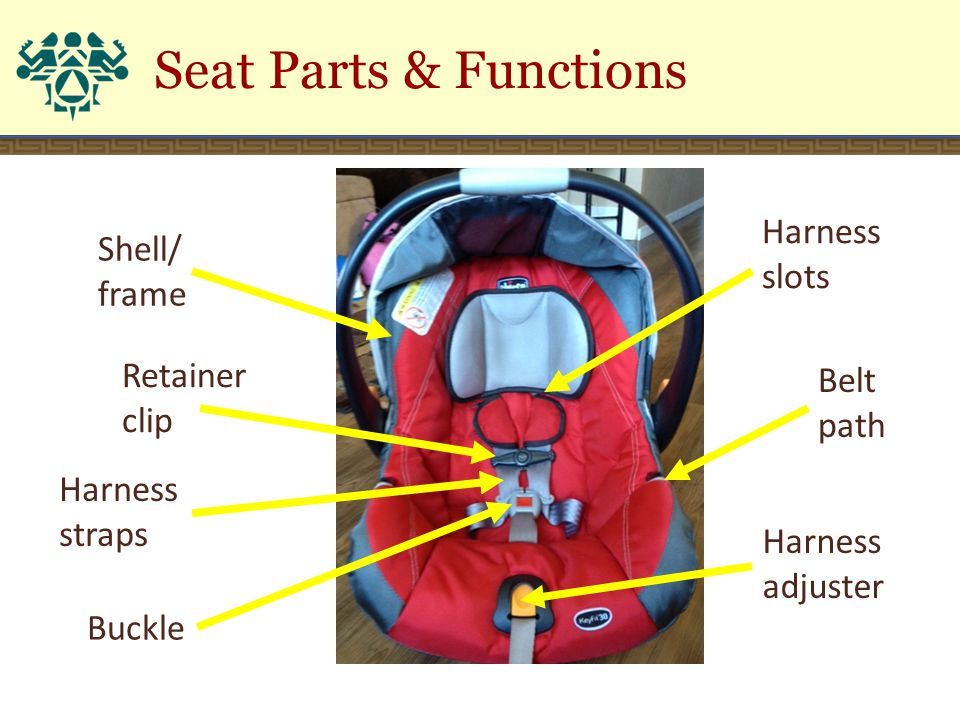 Harness straps Harness slots Retainer clip Belt path Harness adjuster Buckle Shell/ frame Seat Parts & Functions