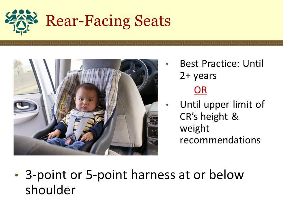 Rear-Facing Seats 3-point or 5-point harness at or below shoulder Best Practice: Until 2+ years OR Until upper limit of CR's height & weight recommend