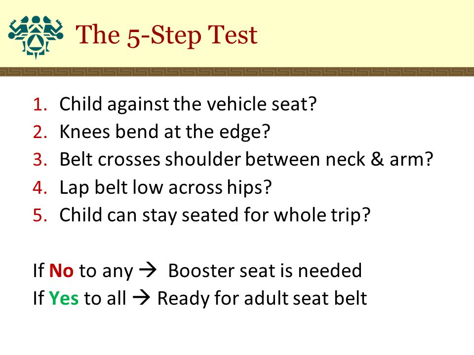 The 5-Step Test 1.Child against the vehicle seat.