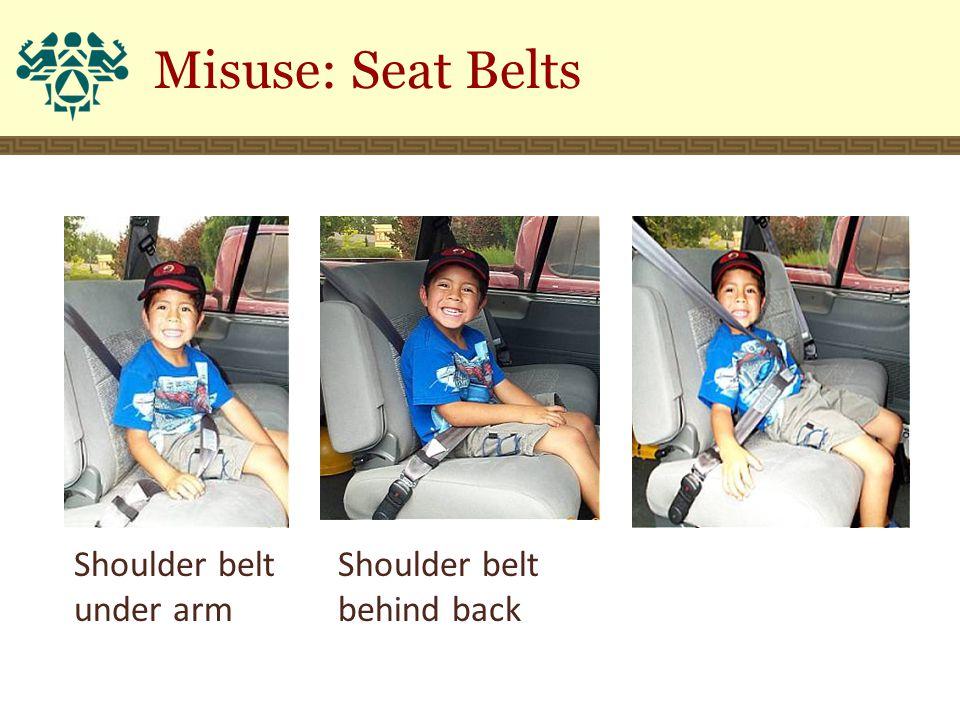 Shoulder belt under arm Shoulder belt behind back