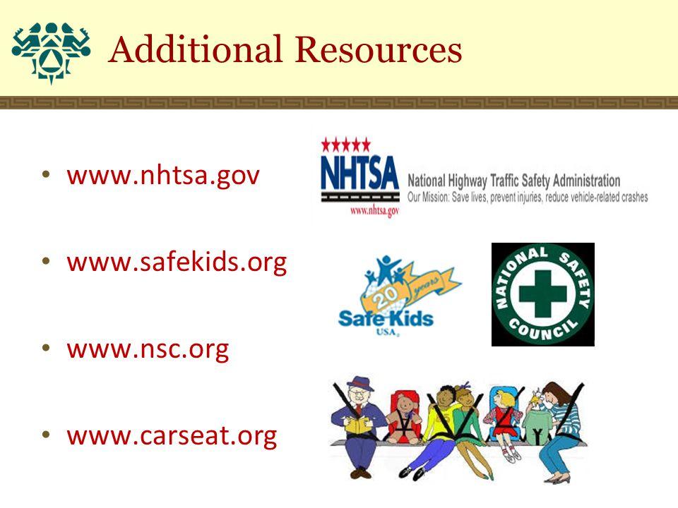 Additional Resources www.nhtsa.gov www.safekids.org www.nsc.org www.carseat.org
