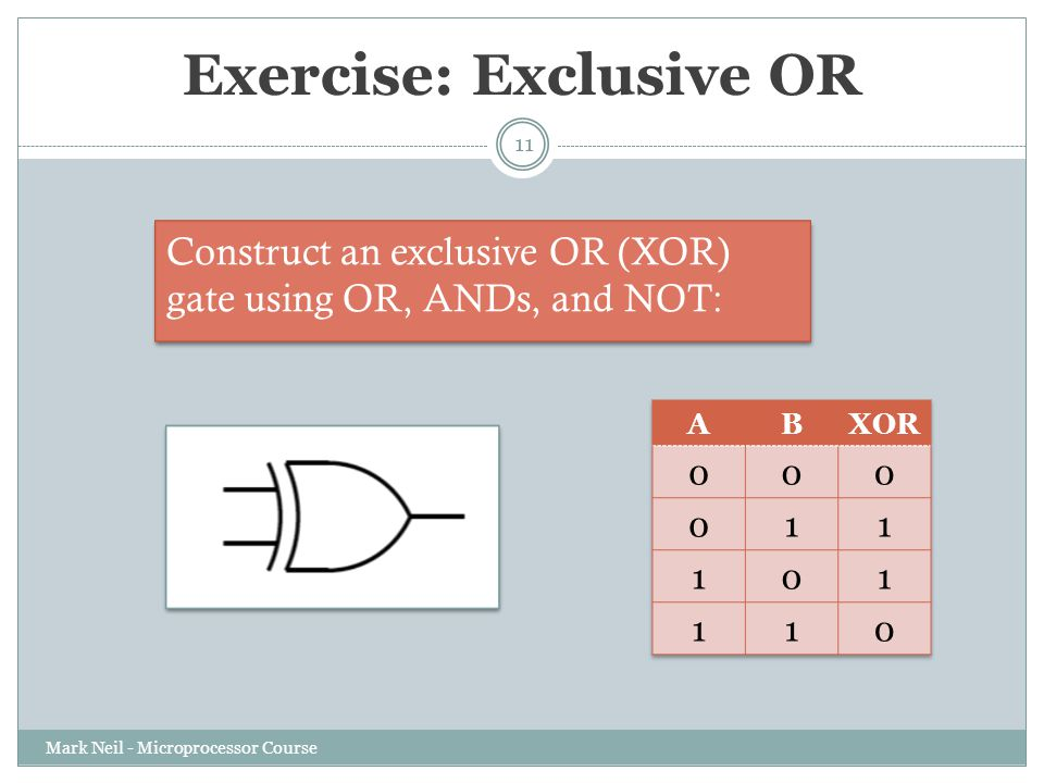 Exercise: Exclusive OR Mark Neil - Microprocessor Course 11 Construct an exclusive OR (XOR) gate using OR, ANDs, and NOT: