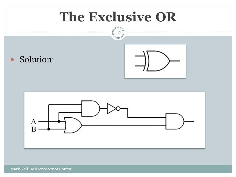The Exclusive OR Mark Neil - Microprocessor Course 12 Solution: