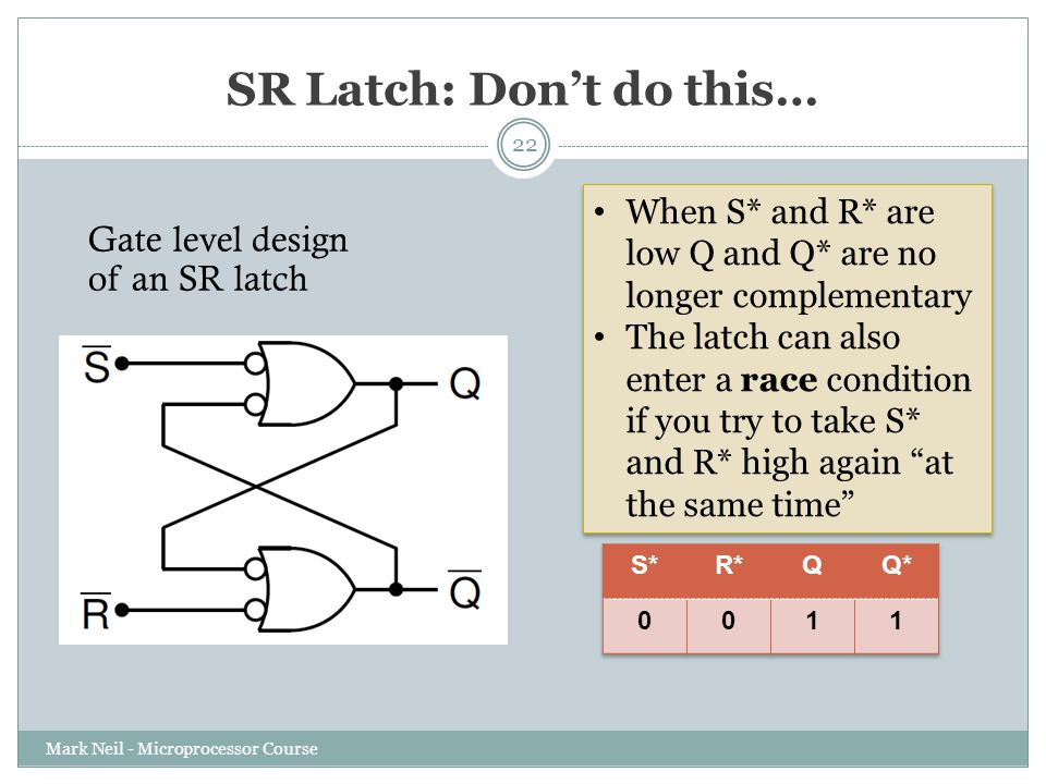 SR Latch: Don't do this… Mark Neil - Microprocessor Course 22 Gate level design of an SR latch When S* and R* are low Q and Q* are no longer complementary The latch can also enter a race condition if you try to take S* and R* high again at the same time When S* and R* are low Q and Q* are no longer complementary The latch can also enter a race condition if you try to take S* and R* high again at the same time