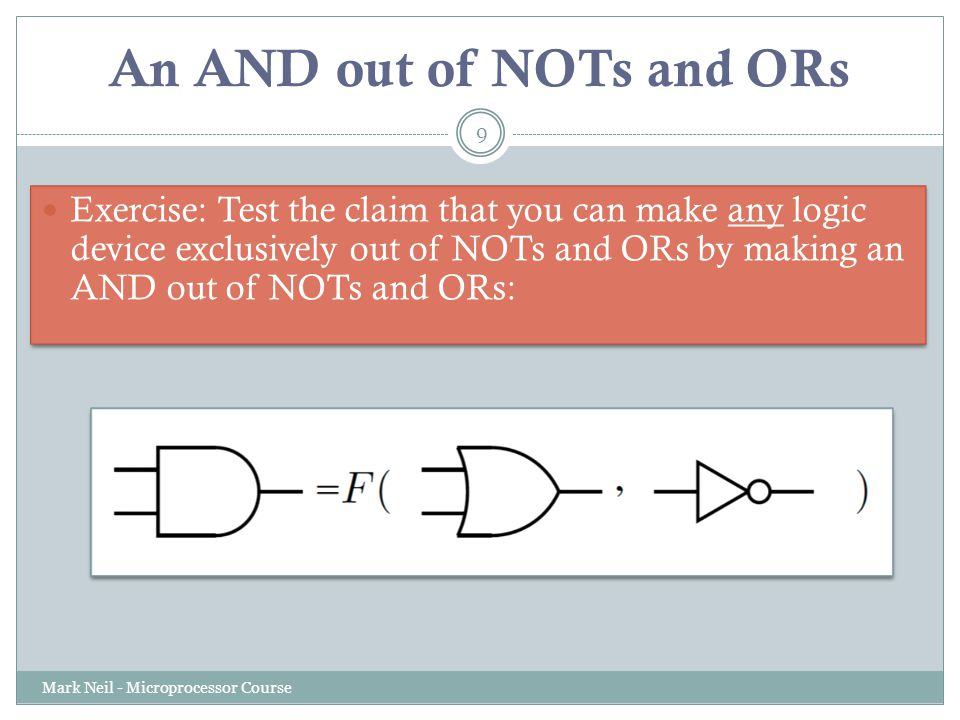 An AND out of NOTs and ORs Mark Neil - Microprocessor Course 9 Exercise: Test the claim that you can make any logic device exclusively out of NOTs and ORs by making an AND out of NOTs and ORs: